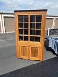 Antique Corner cupboard with old glass