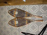 Pair of antique Tubbs Vermont bentwood snow shoes