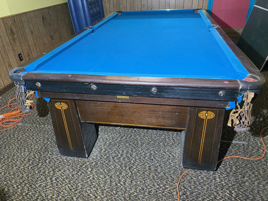 10' Inlaid Art Nouveau Brunswick Pool table