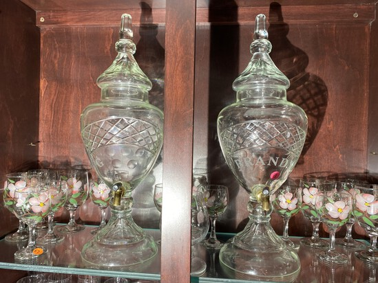 Pair of 19th century Large Sized Bar Decanters - Gin and Brandy