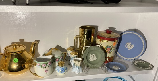 Shelf lot of assorted glass, ceramics - Wedgwood