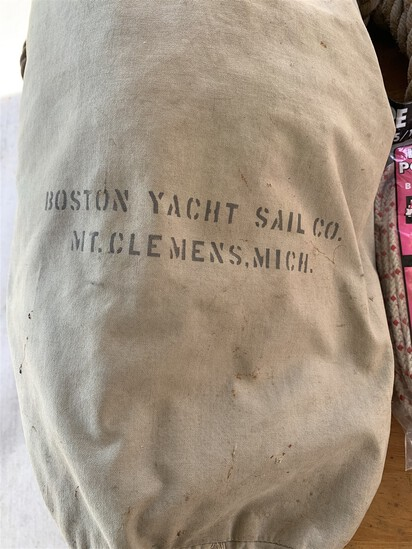 Boston Yacht Sail Co Canvas bag, 2 Block and tackle, Braided Polyester Rope