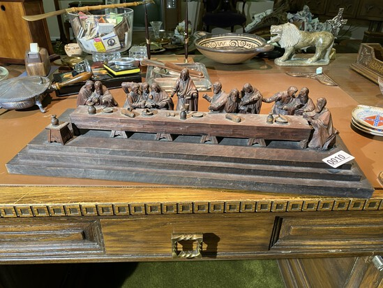 Antique Black Forest Carved Last Supper Scene