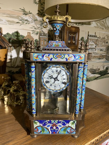 Antique Chinese Enamel Mechanical clock