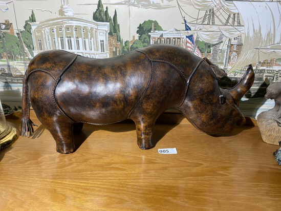 Rare Abercrombie & Fitch leather rhinoceros footstool