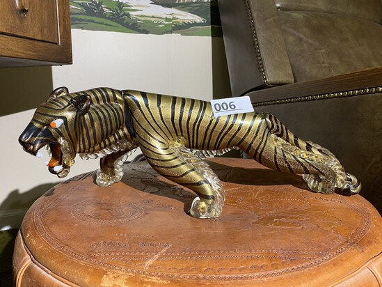 Vintage Alfredo Barbini Murano Glass Tiger