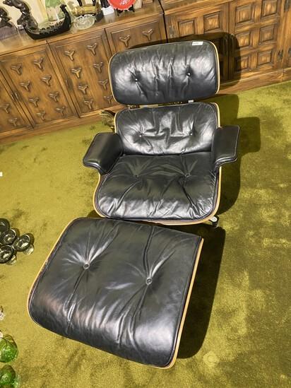 Vintage Mid Century Modern Herman Miller Eames Chair Plus footstool