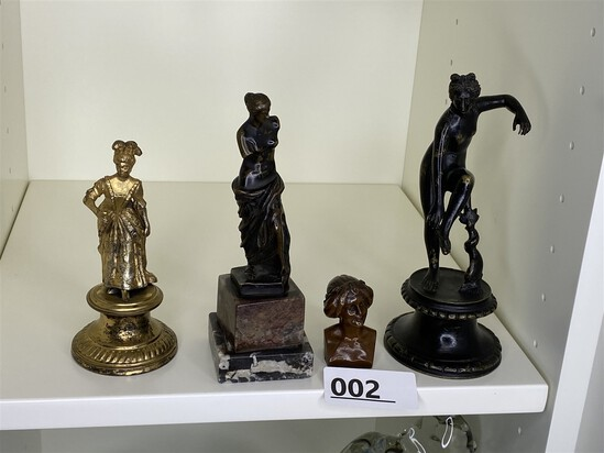 Group lot of vintage bronze statues