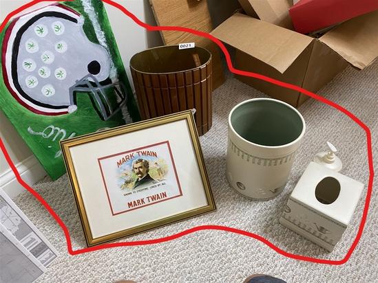 Mark Twain cigar box illustration, MCM garbage can etc