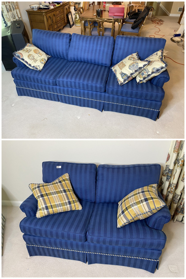2 Vintage Nicer Blue Striped Couches