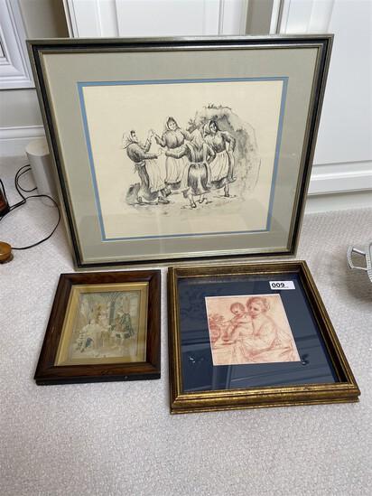 Group of vintage art including Da Vinci, early framed tapestry, signed print