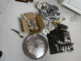 Large group lot of assorted better silver plate, brass items