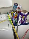 Cleaning supplies, light bulbs lot
