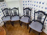 Group lot of 4 country style chairs with seat pads