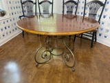 Vintage Round Dinner Table with Fancy Metal Base