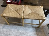 Vintage Woven Rush Double Stool or Bench