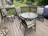 Vintage patio set - four chairs, glass topped table