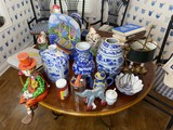 Assorted decorative items on table