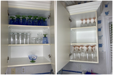2 Cupboards of assorted glasses including depression