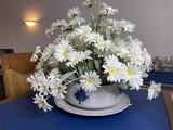 Vintage Louisville Stoneware bowl, platter w/fake daisies