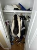 Closet lot fur coats, fancy hangers, vacuums