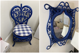 Vintage Blue Wicker chair and matching mirror
