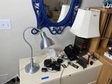 Misc. items on file cabinet inc. Amazon echo, lamp