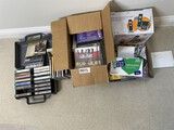 CDs, phone, office supplies, tapes lot