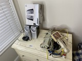 Bose computer speakers in box, power strips etc