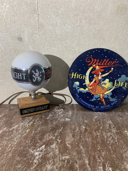Coors Light Lamp & Reproduction Miller Porcelain Beer Sign