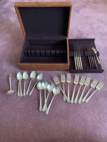 26 Piece Heirloom Sterling Silver Damask Rose Serving Set
