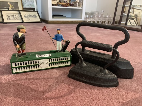 2 Sad Irons & Reproduction Cast Iron Golfer Bank