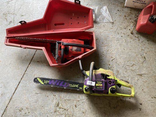 "2 Chainsaws including newer Poulan 18"" Wild Thing"