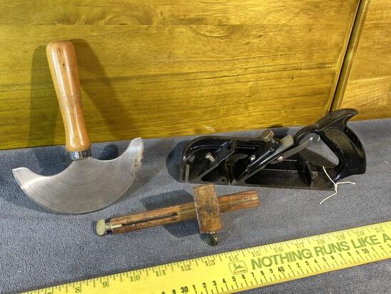 Antique Tools Lot - Plane, Panel Gauge, Scraper