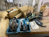 Group lot of assorted electric tools including Rockwell, Makita Power Planer etc