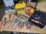 Group lot of assorted tools - Dremel Rotary, wrenches, Ryobi, Cutters and more