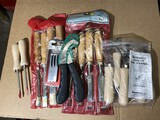 Group lot of assorted chisels, scrapers, woodworking tools