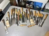 Large lot of assorted Chisels Timber Slicks, woodworking tools