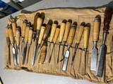 Large lot of assorted scrapers, chisels, slicks woodworking tools