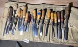 Large lout vintage and antique woodworking chisels