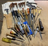 Large lot assorted leather tools, woodworking and more