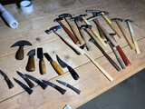 Group lot of assorted hammers, Knives