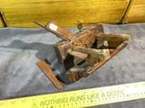 Antique primitive wooden plow plane - heavily marked