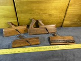 Group of 4 Antique Wooden  Moulding Planes with Blades