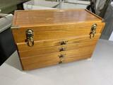 Vintage wooden carpenter's toolbox