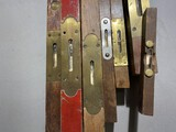 Group lot of wood and brass antique carpenter's levels
