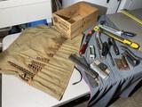 Old spruce box, auger bits, rasps etc lot