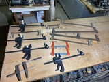 Group lot of assorted metal and plastic clamps