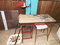 Red wire desk, Stool, Tv Tray