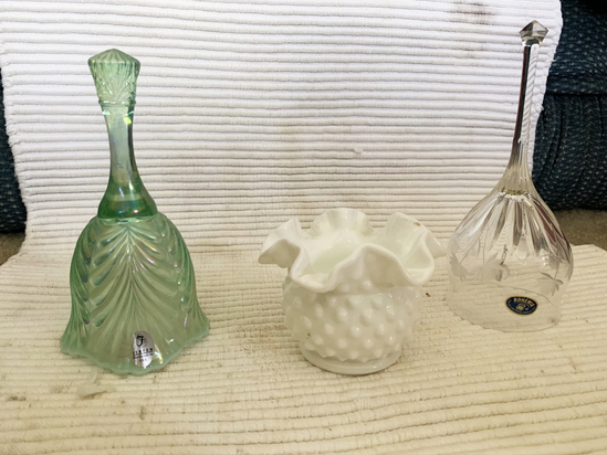 2 Fenton and 1 Bohemian glass pieces